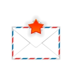 Envelope with red star mark flat icon vector