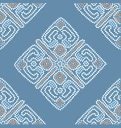 Ethnic seamless pattern background in blue colors vector