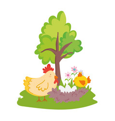 farm animals hen with nest chicken and eggs vector image