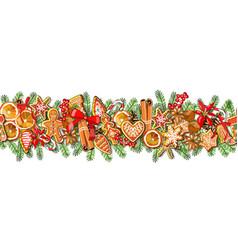 festive seamless border isolated on white vector image