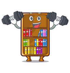 Fitness mascot bookcase beside the study desk vector