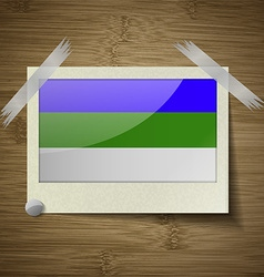 Flags Komi at frame on wooden texture vector image