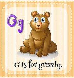 Flashcard letter g is for grizzly vector