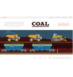 Flat coal transportation landing page template vector