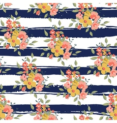 floral pattern with dark blue stripes vector image
