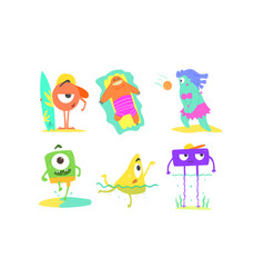 funny monsters on beach set cute happy mutants vector image