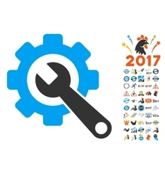 Gear And Wrench Icon With 2017 Year Bonus vector