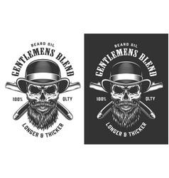 Gentleman skull in fedora hat emblem vector