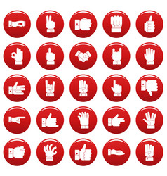 Gesture icons set vetor red vector