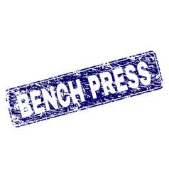 Grunge bench press framed rounded rectangle stamp vector