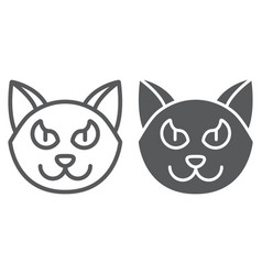 halloween cat line and glyph icon animal and vector image