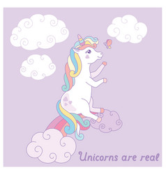 hand drawn cartoon card with cute unicorn vector image