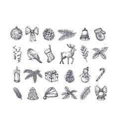 hand drawn christmas icons set a collection vector image