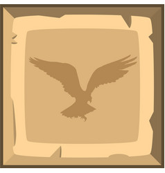 Hand drown old bronze ingot tile with eagle vector