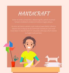 Handicraft banner origami art vector