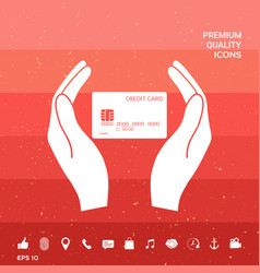 hands holding credit card vector image