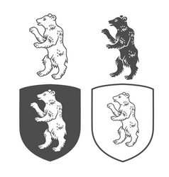 heraldic shields with bear vector image