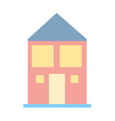 House with roof and windows with door vector