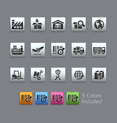 Industry and logistics icons - satinbox series vector