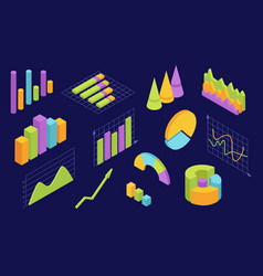 isometric graphs statistic charts for business vector image