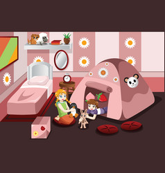 Kid playing in a tent inside the bedroom vector