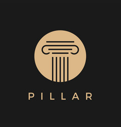 Law pillar gold in black logo icon vector