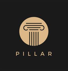 law pillar gold in black logo icon vector image
