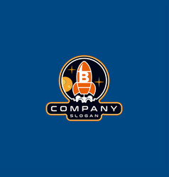 Letter b rocket logo design vector