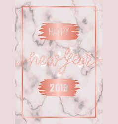 luxury golden glitter happy new year 2019 vector image