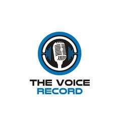 Microphone sound wave voice podcast radio logo vector