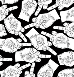 Middle finger hands seamless pattern black and vector image