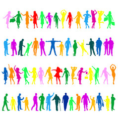Multicolored people silhouettes vector
