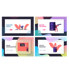 Noise pollution landing page template set tiny vector