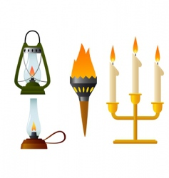 Old lamp burning vector