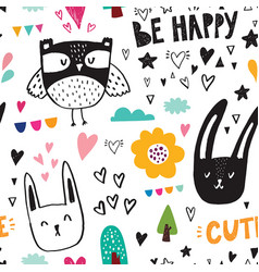 Owl and rabbits vector