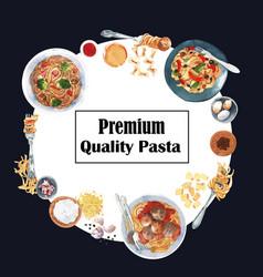 Pasta wreath design with meatball garlic plate vector