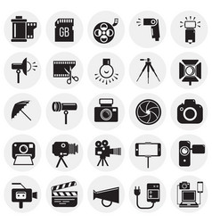 photography and videography icon set on circles vector image