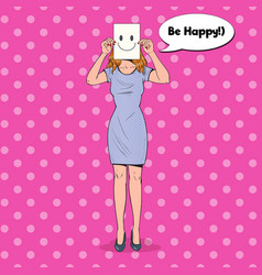 pop art woman with smiley emoticon on paper sheet vector image