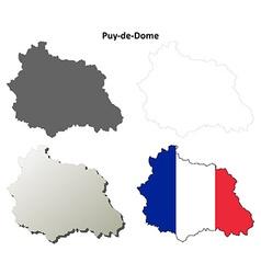 Puy-de-Dome Auvergne outline map set vector