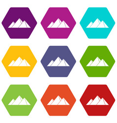 Pyramids in giza icon set color hexahedron vector