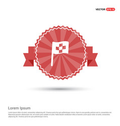 racing flag icon - red ribbon banner vector image