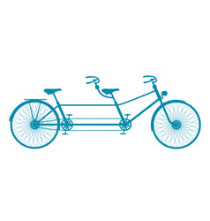 Retro tandem bicycle in blue design vector