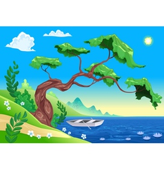 Romantic landscape with tree and water vector