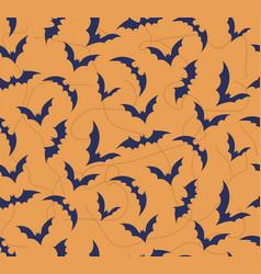 seamless pattern of bat on bright orange vector image