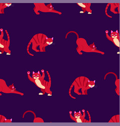 seamless pattern with colorfuls crazy cats vector image