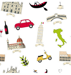 seamless pattern with famous italian landmarks vector image