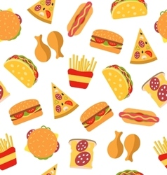 Seamless Pattern with Set Fast Food Flat Icons vector image
