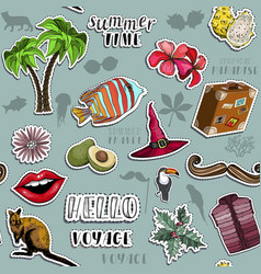Seamless pattern with summer travel stickers set vector