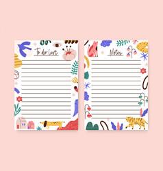Set childish notebook organizer planner memo vector