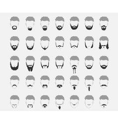 Set mustache and beard vector